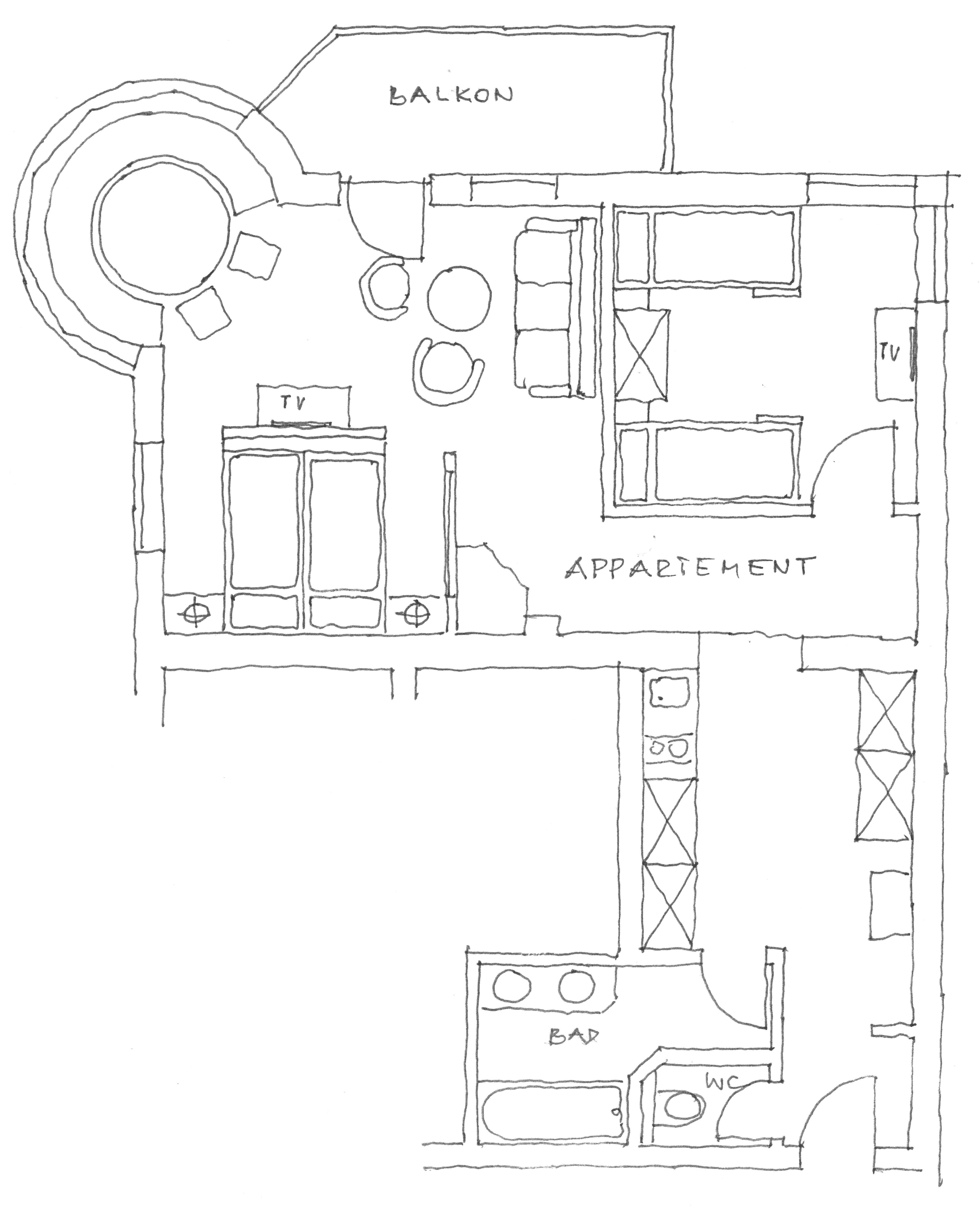 Grundriss Appartement Zauberwinkel 60 m²