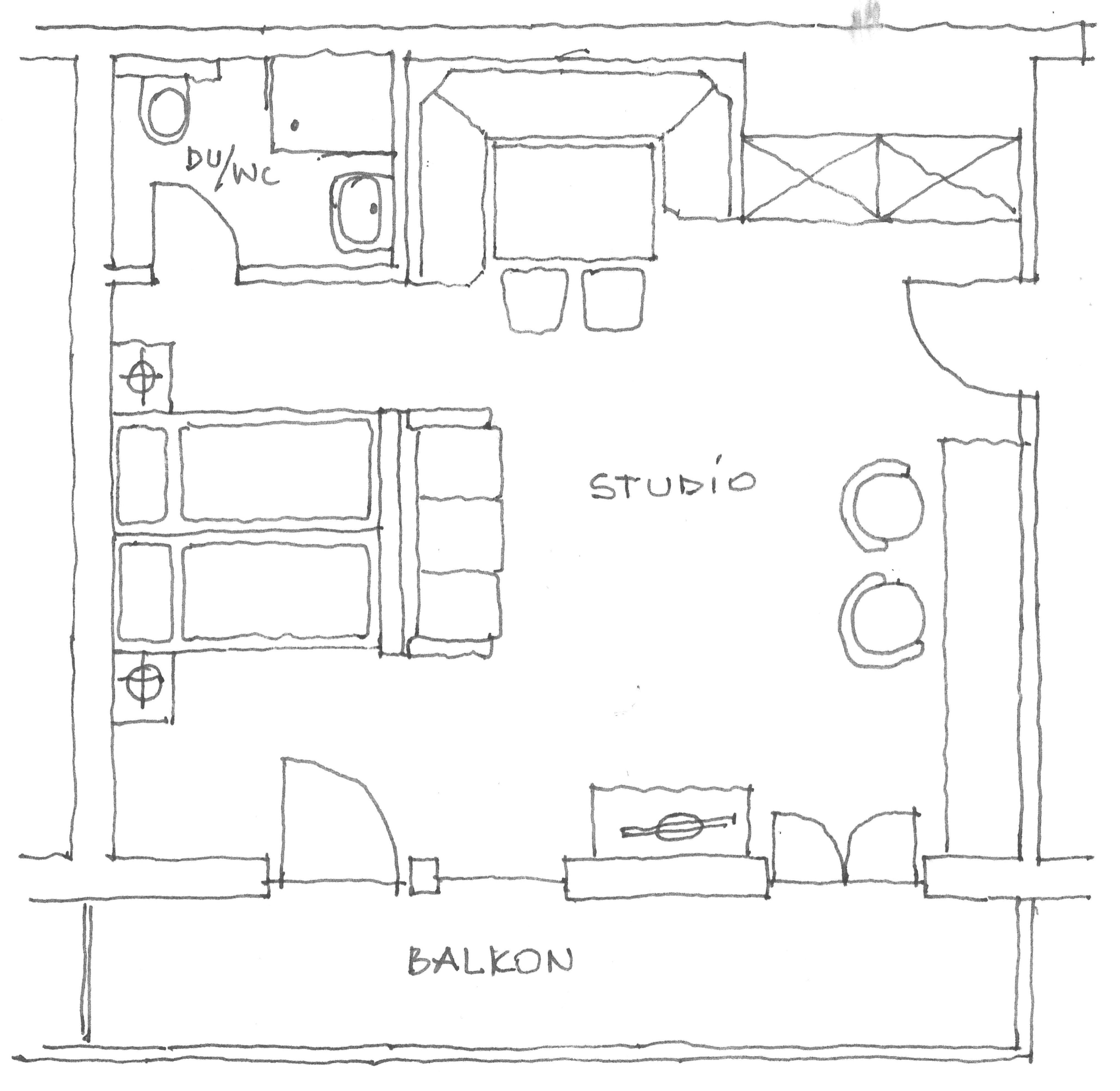 Grundriss Studio Zirbenstube 40 m²
